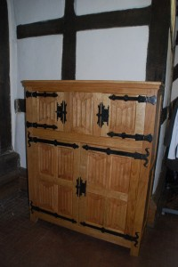 Medieval oak cupboard with linenfold panels around £2000