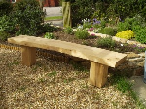 Rustic oak garden bench £300